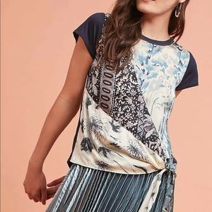 Anthropologie $78 Prism Wrapped Tee Tiny S top tie